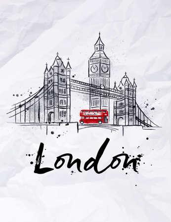 bus anglais: Affiche gratte-ciel de Londres Tower Bridge et Big Ben dessin dans le style vintage avec des gouttes et les éclaboussures sur papier froissé