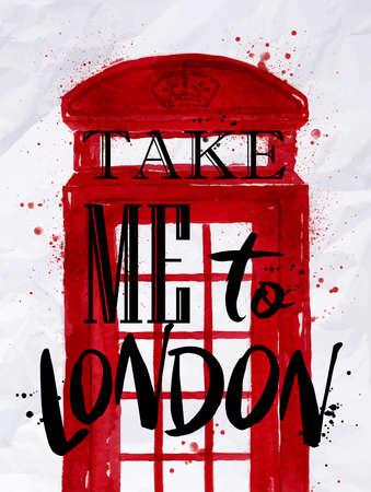 cabina telefonica: cabina telefónica cartel rojo con una inscripción me lleve a Londres dibujo en el papel arrugado