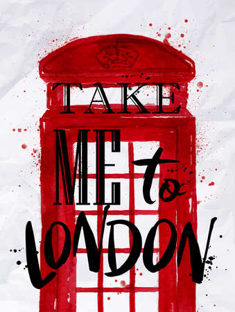 Poster phone booth red color with an inscription take me to London drawing on crumpled paper Illustration