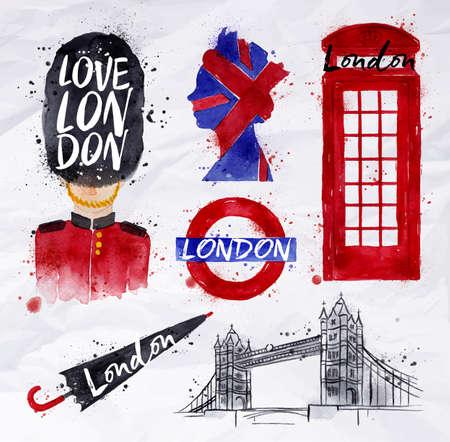 british: London symbols phone booth, umbrella, underground, tower bridge, bearskin hats, drawing with drops and splash on a crumpled paper Illustration