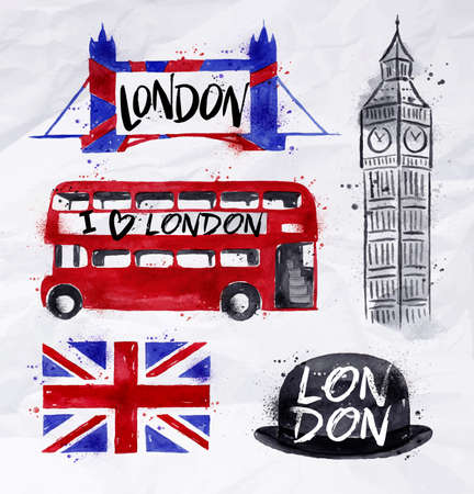 London signs big ben, flag, bus, tower bridge, bowler hat, drawing with drops and splash on a crumpled paper