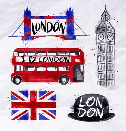 Segni Londra Big Ben, la bandiera, l'autobus, il Tower Bridge, bombetta, disegno con gocce e spruzzi su una carta stropicciata Archivio Fotografico - 49747772