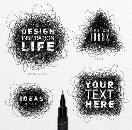 wire mess: Pen drawing tangle elements circle square oval triangle with differents inscriptions drawing on paper background Illustration