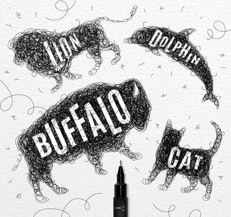 Pen hand drawing tangle wild animals buffalo, cat, dolphin, lion,  with inscription names of animals drawing on paper background Illustration