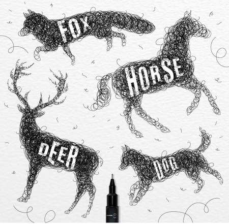 inscription: Pen hand drawing tangle wild animals deer, horse, fox, dog  with inscription names of animals drawing on paper background