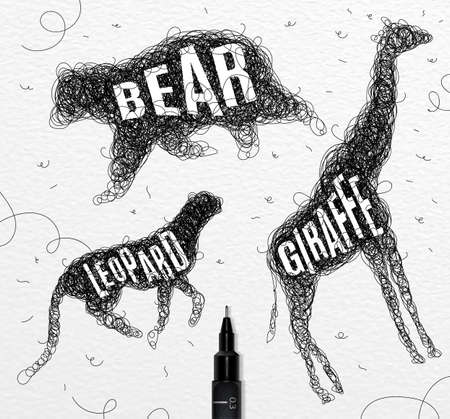 technic: Pen hand drawing tangle wild animals bear, giraffe, leopard with inscription names of animals drawing on paper background