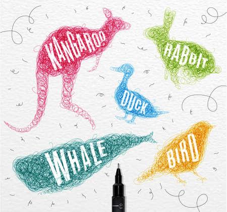 Pen Handzeichnung Gewirr Wilde Tiere Ente, Wal, Vogel, Kaninchen ...