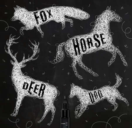 disorderly: Pen hand drawing tangle wild animals deer, horse, fox, dog  with inscription names of animals drawing with white ink on black background