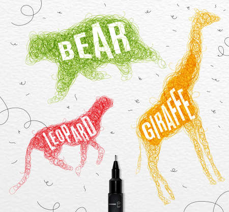 disorderly: Pen hand drawing tangle wild animals bear, giraffe, leopard with inscription names of animals drawing with color ink on paper background Illustration