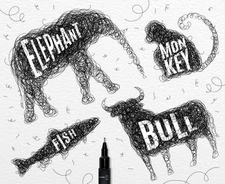bull pen: Pen hand drawing tangle wild animals elephant, monkey, bull, fish with inscription names of animals drawing on paper background Illustration