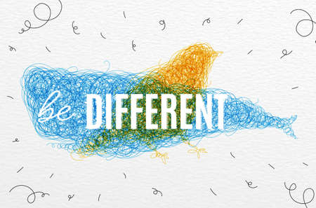be different: Hand drawing pen tangle wild animals lettering be different drawing with color ink on paper background Illustration