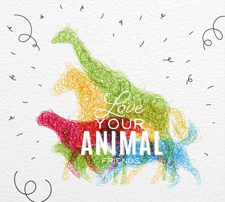 dog pen: Hand drawing pen tangle wild animals giraffe, horse, jaguar, dog, rabbit lettering love your animal friends drawing with color ink on paper background