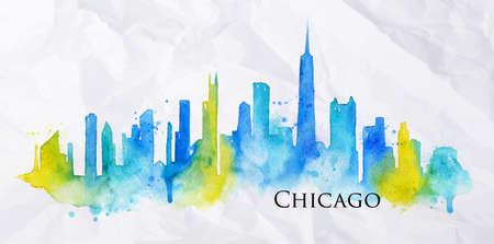 수채화의 밝아진 그린 시카고 도시의 실루엣 노란색과 파란색 줄무늬 랜드 마크 상품