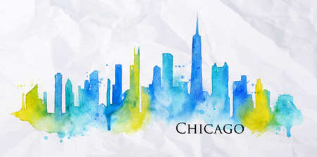 Silhouette of Chicago city painted with splashes of watercolor drops streaks landmarks in blue with yellow Ilustração