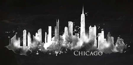 Silhouette of Chicago city painted with splashes of chalk drops streaks landmarks drawing with chalk on blackboard Illustration