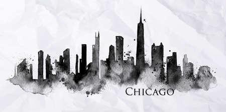 Silhouette der Stadt Chicago gemalt mit Spritzern von Tintentropfen Streifen Sehenswürdigkeiten in schwarzer Tinte auf einem zerknitterten Papier Zeichnung Standard-Bild - 50537848