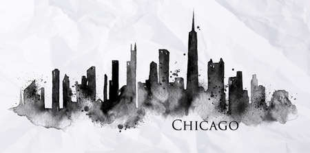 Silhouette of Chicago city painted with splashes of ink drops streaks landmarks drawing in black ink on crumpled paper Ilustração