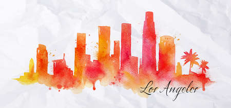 city panorama: Silhouette of Los Angeles city painted with splashes of  watercolor drops streaks landmarks in orange with red