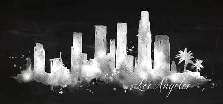Silhouette of Los Angeles city painted with splashes of chalk drops streaks landmarks drawing with chalk on blackboard