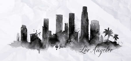 city background: Silhouette of Los Angeles city painted with splashes of ink drops streaks landmarks drawing in black ink on crumpled paper Illustration