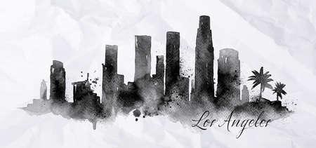 silueta: Silueta de la ciudad de Los Ángeles pintado con salpicaduras de gotas de tinta rayas de puntos de referencia de dibujo en negro de tinta sobre el papel arrugado