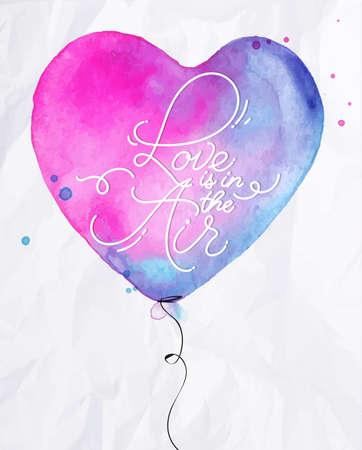 amour Aquarelle ballon à air coeur lettrage amour est dans le dessin de l'air avec du rose et bleu sur fond de papier froissé