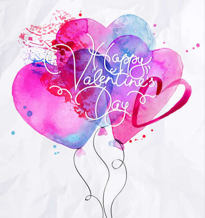 love card: Valentines Day greeting card with watercolor balloon hearts lettering Happy Valentine day drawing with pink and blue on crumpled paper background