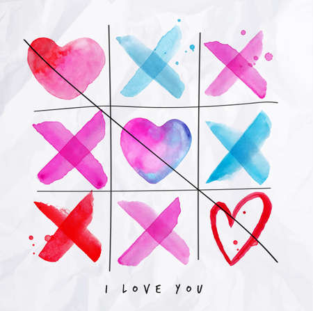 valentine heart: Noughts and crosses love game lettering I love you drawing with pink, red, blue watercolor on crumpled paper background Illustration