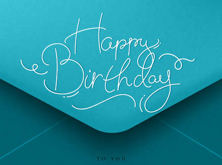 white backgrounds: Blue greeting Birthday envelope lettering happy birthday, to you