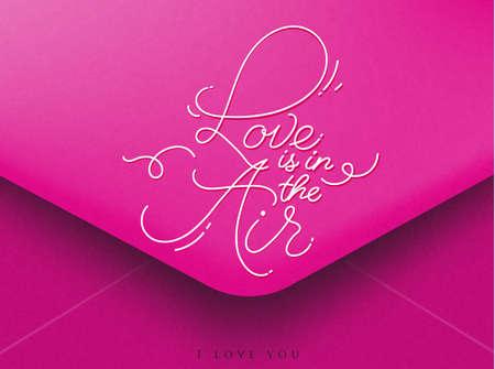 Enveloppe de voeux rose sur Valentines lettrage jour l'amour est dans l'air, Je t'aime Banque d'images - 50538967