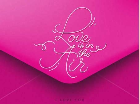 Pink greeting envelope on Valentines day lettering love is in the air, I love you Ilustração