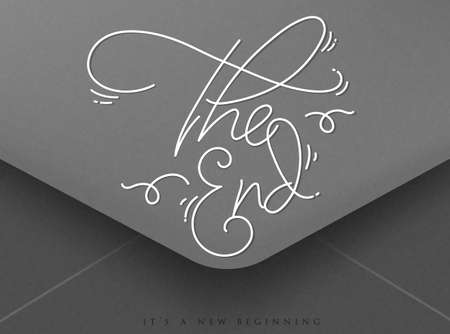 new beginning: Greeting envelope on Valentines day lettering the end, its new beginning Illustration