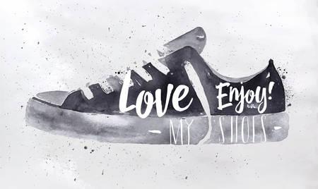 pies masculinos: cartel de los zapatos deportivos en letras retro estilo vintage aman los zapatos, disfrutan de dibujar con tinta negro sobre fondo de papel sucio