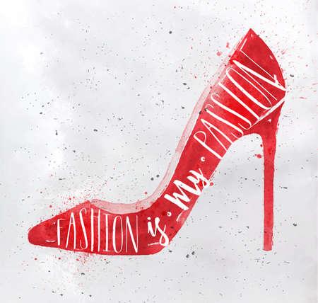 calcanhares: Poster mulheres alta colina de calçado na moda retro rotulação do estilo do vintage é minha paixão desenho com cor vermelha no fundo de papel sujo