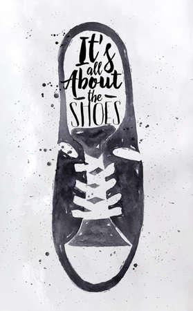 Poster mannen sport schoenen in retro vintage stijl van letters draait het allemaal om de schoenen tekenen met zwarte inkt op vuile document achtergrond Stock Illustratie