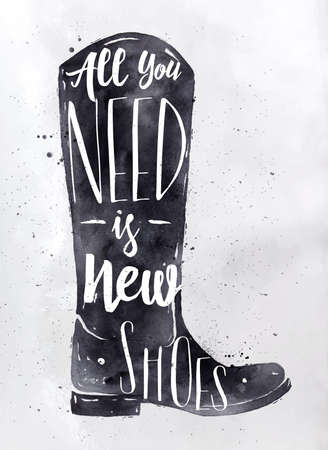 Poster boots in retro vintage style lettering all you need is new shoes drawing with black ink on dirty paper background Vektorové ilustrace