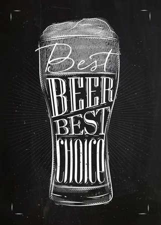 Cartel de cerveza de cristal letras mejor cerveza mejor opción de dibujo en estilo de la vendimia con tiza en el fondo pizarra Ilustración de vector