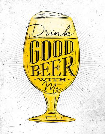 drink me: Poster beer glass lettering drink good beer with me drawing in vintage style with coal on paper background