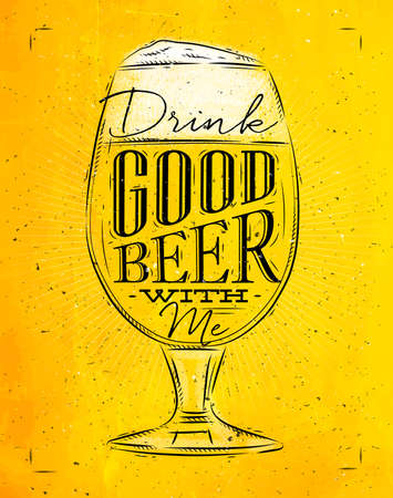 drink me: Poster beer glass lettering drink good beer with me drawing in vintage style with coal on yellow paper background Illustration
