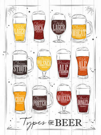 Poster beer types with main types of beer pale lager, bock, dark lager, wheat, brown ale, pale ale, cider, porter, marzen, dunkel drawing with coal in vintage style on wood background. Vettoriali