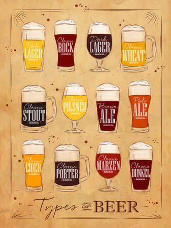 Poster beer types with main types of beer pale lager, bock, dark lager, wheat, brown ale, pale ale, cider, porter, marzen, dunkel drawing in vintage style on background Vectores