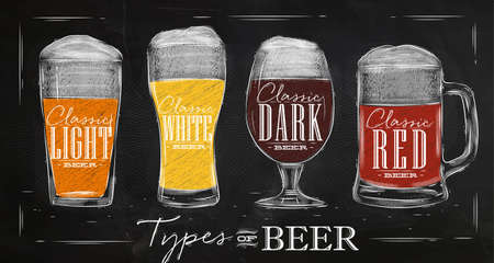 beer glass: Poster beer types with four main types of beer lettering classic light beer, classic white beer, classic dark beer, classic red beer drawing with chalk in vintage style on chalkboard. Illustration