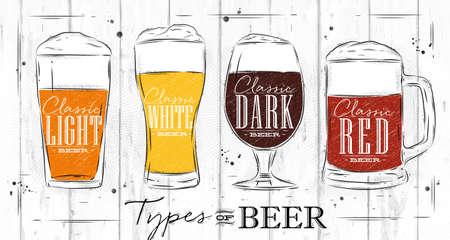 Poster Biersorten mit vier Hauptarten von Bier Schriftzug klassisch helles Bier, klassisches weißes Bier, klassisches dunkles Bier, klassisches rotes Bier Zeichnung mit Kohle im Vintage-Stil auf Holz Hintergrund.