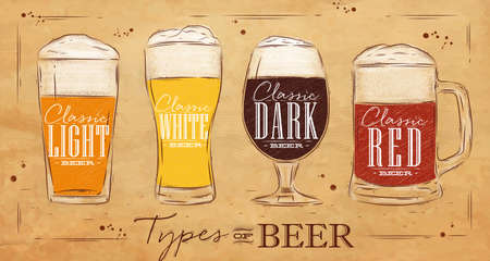 Poster beer types with four main types of beer lettering classic light beer, classic white beer, classic dark beer, classic red beer drawing in vintage style on background