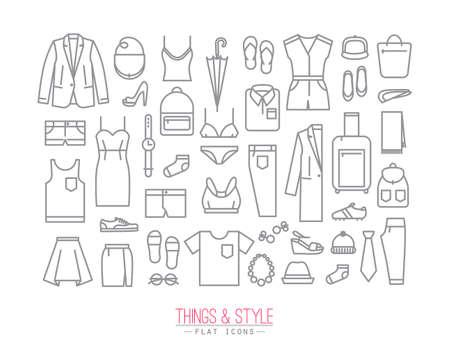 maillot de bain: Ensemble de vêtements icônes dans le dessin de style plat avec des lignes grises sur fond blanc Illustration