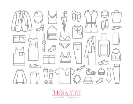 white clothes: Set of clothes icons in flat style drawing with grey lines on white background