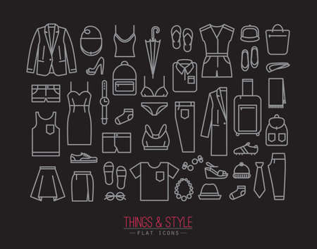white clothes: Set of clothes icons in flat style drawing with white lines on black background Illustration