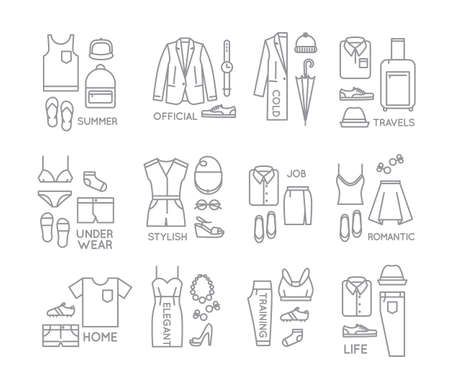 white clothes: Set of clothes complect in flat style drawing with grey lines on white background Illustration