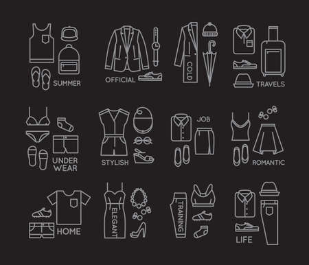 white clothes: Set of clothes complect in flat style drawing with white lines on black background