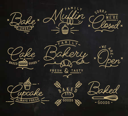 clothed: Flat bakery symbols in vintage style drawing with gold lines on chalkboard background